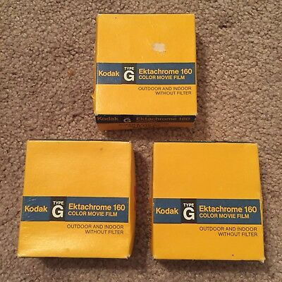 Kodak Ektachrome 160 Color Movie Film, Type G, 50 ft. 3 Boxes Total Expired