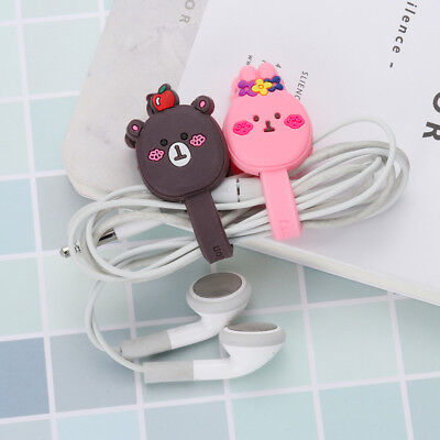 5pcs Cartoon Headphone Earphone Cable Wire Cord Winder Organizer Clip Wrap Cute