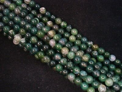 Gemstone Beads Moss Agate 6mm Round Beads 35cm Strand Semi Precious FREE POSTAGE
