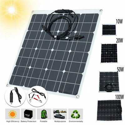 10/20/50W 5V / 12V Monocrystalline Solar Panel Battery Charger For Car RV Boats