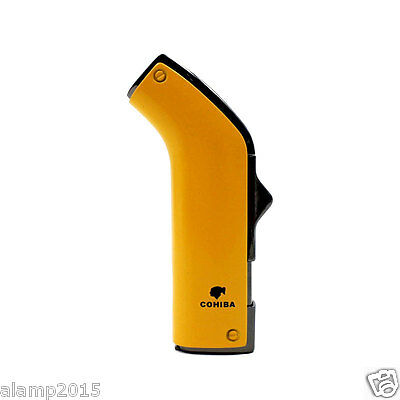 COHIBA Yellow Metal Fashion 2 Torch Jet Flame Cigarette Cigar Lighter W/Punch