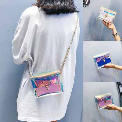 Women Holographic Bag Clear Transparent Small Tote Hologram Handbag Purse  Laser 4db12c089d432