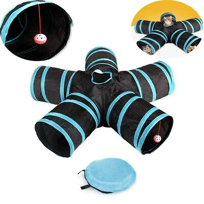 5 Way Pet Cat Kitten Puppy Tunnel Play Toy Foldable Funny Exercise Tunnel Toys