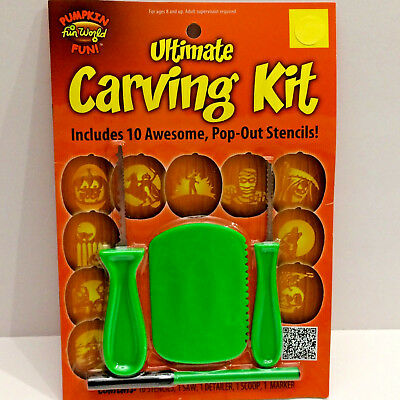 Ultimate Halloween Pumpkin Carving Kit Tools Stencils Scoop Saw Marker