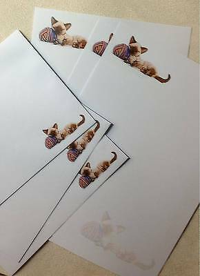 Cute Kitten Letter Writing Stationery Paper Set with matching envelopes