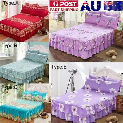 3pcs Quilted Vintage Cotton Bedspread Coverlet Blanket Pillowcase Queen Size Set