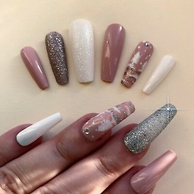 Hand Painted False Nails XL COFFIN (or ANY) Christmas Scene XMAS Silver or Gold