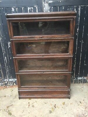 Antique Globe Wernicke Barrister Lawyer Solicitor's 4 Tier Glazed Oak Bookcase
