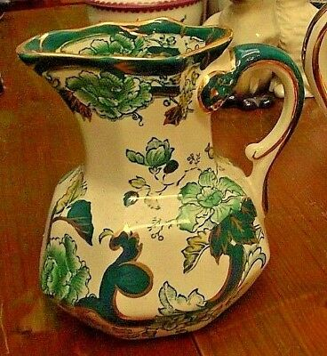 """Mason's Patent Ironstone Chartreuse 4.5"""" Hydra Jug Excellent Condition"""