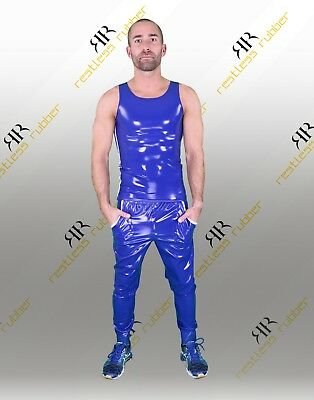 Latex Tanktop Stripes Herren blau weiß NEU XS S M L XL Rubber
