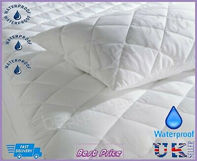 New Luxury Waterproof Deep Fitted Quilted Mattress Pillow Protector All Sizes