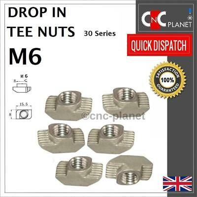 M6 Drop In Tee nuts Hammer T-Nut 30 series Aluminium Extrusion Profile T-Slot UK