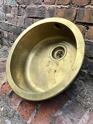 "Vintage Reclaimed Brass 16"" Round Sink Bowl Salvage Architectural Antiques"
