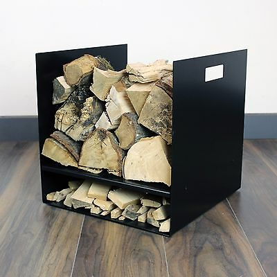 Large Black Premium Log Basket Modern Design Metal - Wood Burning Stove Fire