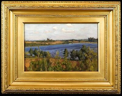 Signed Early 20th C. Impressionist Landscape Oil Painting in Antique gilt Frame