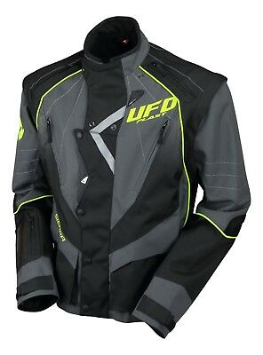 UFO Motocross Enduro Jacket Off Road Trail Adults Grey Black Neon Yellow L