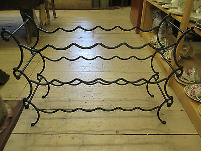 Vintage wrought iron wine rack stand holder storage Holds 18 bottles 3 Sections