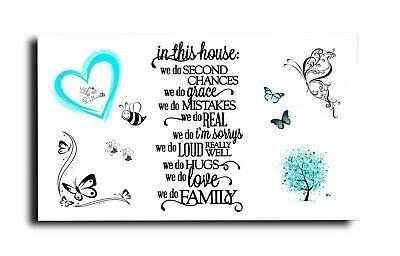 PINK HEART FAMILY BUTTERFLY LOVE VERSE QUOTE CANVAS WALL ART  18 X 32 INCH