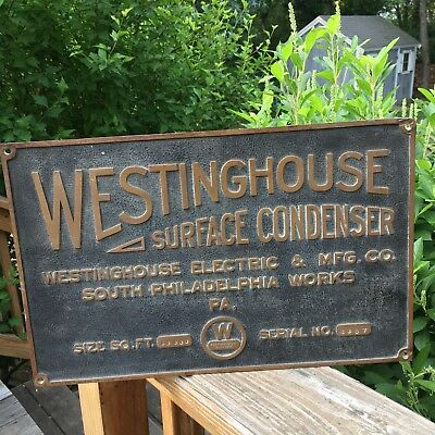 Vintage 1930's Westinghouse Electric & Mfg Co Advertising Bronze Plaque