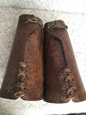 Cowboy Leather Cuffs, Pair, Ca. 1900, Antique, Show only light use.