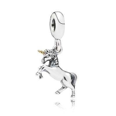 New Authentic GENUINE PANDORA SILVER AND 14CT GOLD UNICORN CHARM 791200