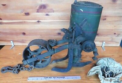Antique Iron Age corn planter 0203 Vintage agricultural farm industrial decor