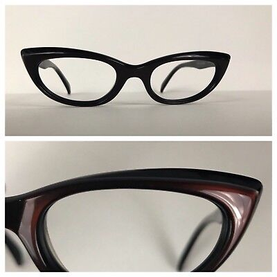 0f4cf54946 Vintage NOS 1950s Black Cherry Two Tone Cat Eye Cateye Glasses Small Frame S
