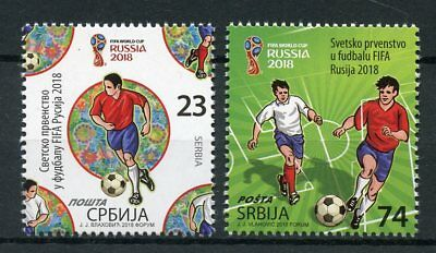 Serbia 2018 MNH FIFA World Cup Football Russia 2v Set Soccer Sports Stamps