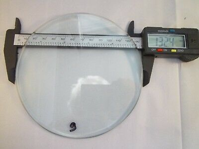 "Replacement bevelled Flat Clock Dial Glass 132.mm (5 2/10"") diameter 4.5mm Thick"