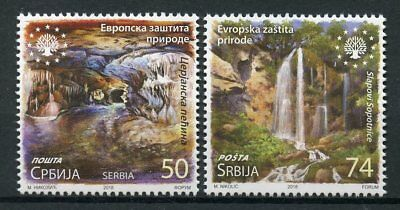 Serbia 2018 MNH Nature Protection 2v Set Caves Waterfalls Tourism Stamps