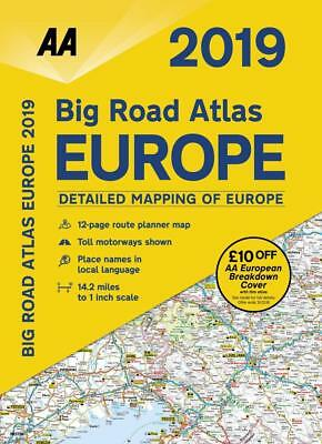 AA Big Road Atlas Map Europe 2019 Latest Edition A3 Spiral Bound (79661)