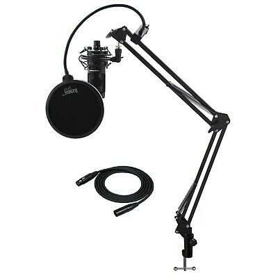 Audio-Technica AT2020 Microphone with Knox Filter, Boom Arm, Cable & Shock Mount