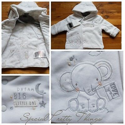 Mothercare Baby Jacket Pram Coat 100% Cotton White Embroidered 0-6 Months
