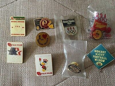 Vintage Pins Lot Of 9 Fujifilm Olympics Kodak Miller Best Foods Redskins
