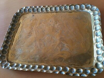 Antique Arts and Crafts Handmade Brass Tray c1900's - approx 9 x 6 3/4 ins