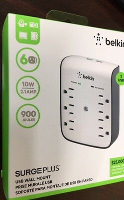Belkin SurgePlus Wall Mount 6 Outlet Surge Protector with Dual USB Charging 10w