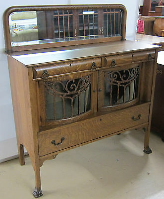 Antique Sideboard Tiger Oak with Curved Glass Doors