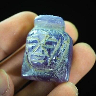 Splendid Rare Antique Egyptian Amethyst Pharaoh King Carved Pendant Original Old