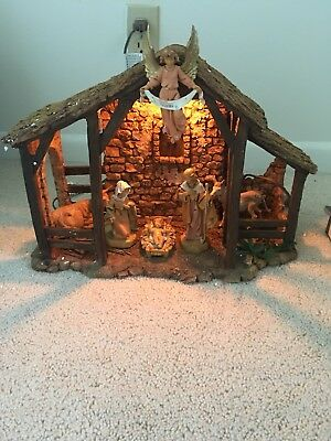 """Roman FONTANINI HEIRLOOM NATIVITY LIGHTED STABLE  #50520 FOR 5"""" FIGURES +Figures"""