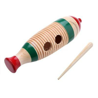 Wooden Guiro Fish-Shaped Colorful Kid Children Musical Toy Percussion Q6A8