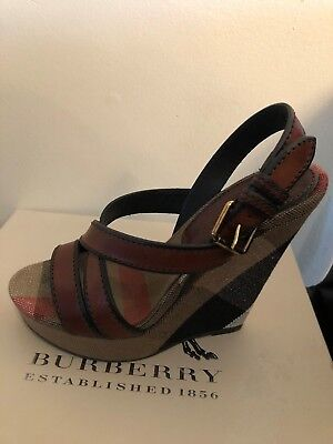 f0dbf27157de NEW Burberry Brit Canvas Check   Leather Warlow Crisscross Wedge Sandals  Size 37