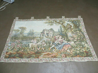"""3' 7"""" X 5' 7"""" TAPESTRY French Made AUBUSSON Design Loomed Picnic Nice"""