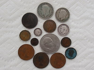 British Coin Collection 1868 - 1967 Victorian King George Churchill + Bonus Coin
