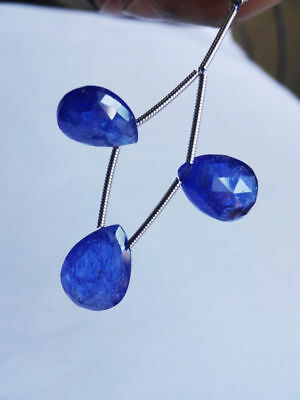 3-pc set AAA quality Natural Tanzanite faceted pear gemstone beads 20cts