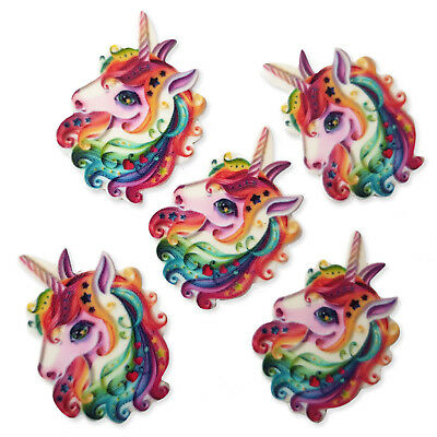 5pcs Rainbow Unicorn Acrylic Flatback Cabochons Embellishment Decoden Craft