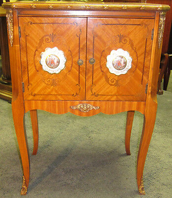 Antique French Inlaid Mahogany Nightstand Hand Painted Porcelain Medallion