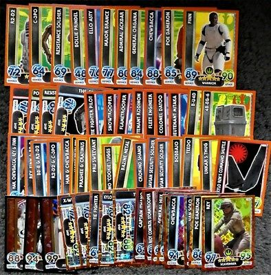 Bundle Lot of 90 Topps Star Wars Force Attax Extra Force Awakens Trading Cards