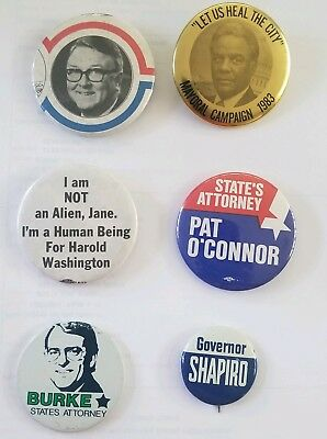 Vintage Illinois / Chicago Political Campaign Pinback Button Lot. Byrne Shapiro