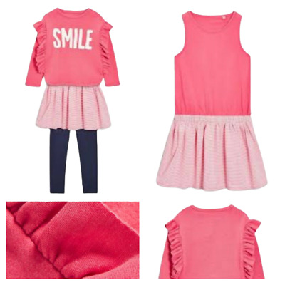 NEXT Outfit Set Girls Age 5 Smile Jumper Under Dress Skirt & Leggings 3 Piece
