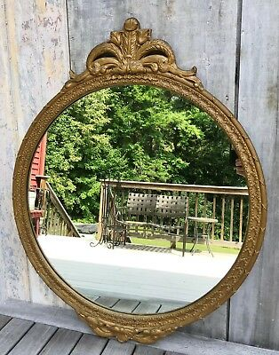 Antique French Louis XVI Carved Giltwood & Gesso Round Mirror Acanthus c. 1920